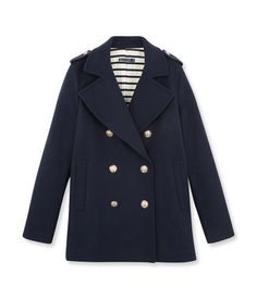 Women's wool cloth pea jacket Noctambule blue - Petit Bateau