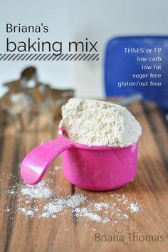 Homemade 'baking blend' 1 c protein powder 3 c coconut flour 2 c oat fiber 1.5 c flaxmeal 1.5 tsp xantham gum/gluco