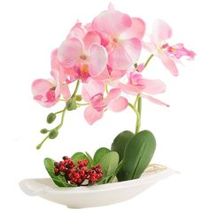 Orchid Plant Decoration Artificial Silk Flowers Arrangement (Pink) (22 CAD) ❤ liked on Polyvore featuring home, home decor, floral decor, fake orchid plant, artificial flowers, pink artificial flowers, artificial orchid plant and faux floral arrangement