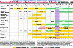 Recommended Childhood and Adolescent Immunization Schedule, By Vaccine and Age Group - United States - 2006
