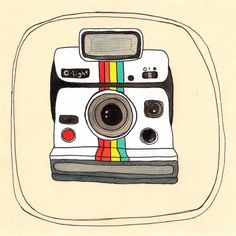 Limited Edition Camera art Print Little Polaroid by michelemaule Camera Drawing, Camera Art, Retro Camera, Poloroid Camera, Camera Illustration, Instagram Prints, Vintage Cameras, Polaroid Vintage, Art Reproductions