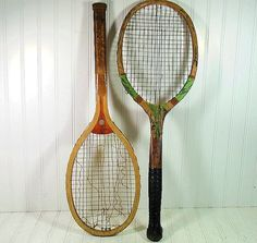 Retro Wooden Tennis Racquets Duo Vintage by DivineOrders on Etsy, $32.00