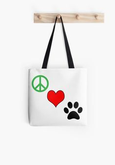 """Peace Love Paws"" Tote Bags by yourdesignerdog Iphone Wallet, Iphone Cases, Dog Pin, Framed Prints, Canvas Prints, Gifts For Pet Lovers, Dog Boarding, Sell Items, Mask For Kids"