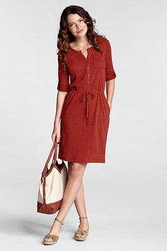 Take a look at this Red Berry French Terry Pocket Dress - Petite & Women by Lands' End on today! Petite Dresses, Cute Dresses, Short Dresses, Summer Dresses, Dress Skirt, Dress Up, Prom Dress, Style Casual, Casual Styles