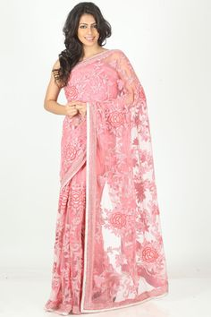 Pink Colored #Netted #Saree  For More Saree Check this page now :-http://www.ethnicwholesaler.com/sarees-saris
