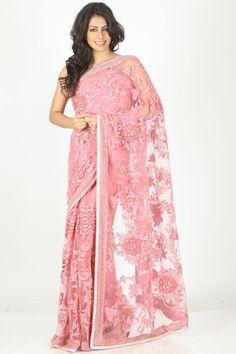 Pink Designer #PartyWear #Saree  For More Saree Check this page now :-http://www.ethnicwholesaler.com/sarees-saris