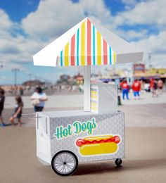 Scout Creative designed this mini paper hot dog stand calendar -- Print and assemble August desk calendar August Calendar, Creative Calendar, Hot Dog Cart, Hot Dog Stand, Desk Calendars, Printable Calendars, Free Printable, Fun Fair, Vacation Bible School