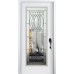 """Exterior Doors - Pre-Hung Steel Infinity Doors - White Pre-Finished / 80""""x36"""" / 4 9/16"""" Jamb / Brick Mould / Left Hand Inswing"""