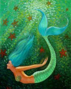 Mermaid Art Print of painting Green sea by HalstenbergStudio