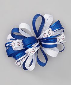 Look what I found on #zulily! Royal Blue & White Baseball Loopy Bow Clip #zulilyfinds