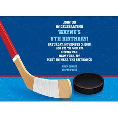 Hockey Party Personalized Invitation - Custom Invitations & Party Supplies