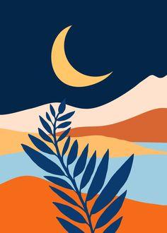 Moon + Night Bloomer / Mountain Landscape Framed Art Print by moderntropical - Vector Black - MEDIUM Posca Art, Small Canvas Art, Landscape Prints, Landscape Art, Arte Pop, Gouache Painting, Mountain Landscape, Oeuvre D'art, Watercolor Art