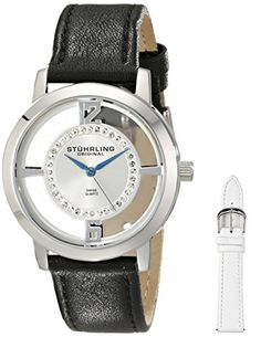 Stuhrling Original Womens 388L2SET01 Analog Winchester Tiara Swiss Quartz Swarovski Crystal Black Leather Strap Watch with Interchangeable White Leather Band ** Click on the image for additional details.Note:It is affiliate link to Amazon.