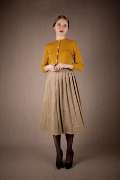 Cold weather - winter - cardigan - skirt - tights - shoes - heels