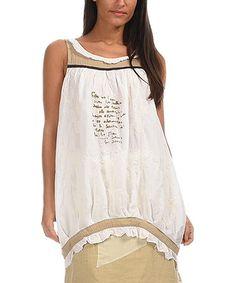 Love this White & Beige Script Blouson Tunic on #zulily! #zulilyfinds