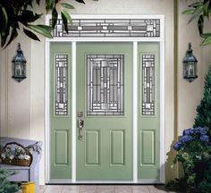 Masonite Naples light Front Door in Red Green Front Doors, Modern Front Door, Front Door Colors, Porch Doors, Door Entryway, Types Of Doors, Steel Doors, Exterior Doors, Home Look