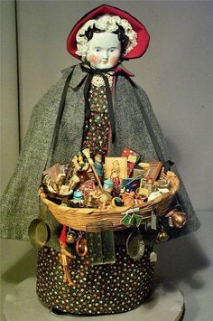 Antique China Head Doll Lady Peddler w Basket Full Old Trinkets 4 Sale Amazing