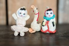$35. for all three Vintage Amigurumi Dolls  Mini Tiny Crochet by VintageDelightShop