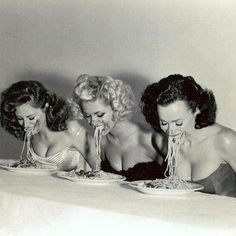 Vintage pasta eating contest