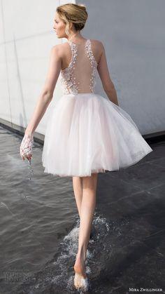 mira zwillinger bridal 2017 sleeveless jewel neck short wedding dress (daisy) bv illusion back