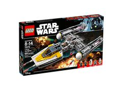 Load the Y-Wing Starfighter and prepare for battle, featuring opening cockpit, rotating guns, spring-loaded shooters and bomb-drop function, plus four minifigures and a droid figure.