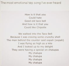 how touching my heart this is art-Taco Bell Song