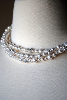 Three Strand Bridal Necklace, White Pearl Necklace, Bridal Jewelry, Wedding Swarovski Fireballs, Special Occasion, Handmade, Tassie N262B10
