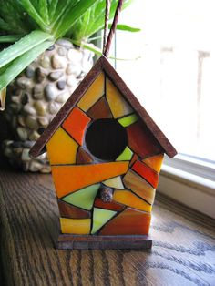 Stained Glass Mosaic Birdhouse by RedfordGlassStudio on Etsy