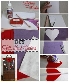 DIY felt heart garland: how to make heart bunting