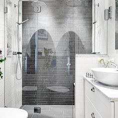 Small bathrooms don't have to feel small! A lot to love about this bathroom! #bathroomdesign #bathroomenvy