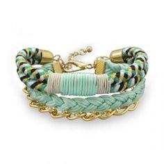 Multistrand Mint and Black Fashion Bracelet