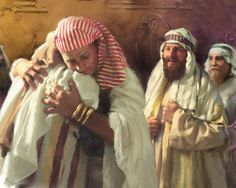 The story of Joseph in the Book of Genesis is fascinating. It is indeed a great teaching about God's compassion and forgiveness and His everlasting love for the people of Israel. It is also deeply int. Bible Pictures, Jesus Pictures, Meaningful Pictures, Joseph's Brothers, La Sainte Bible, Bible Illustrations, Biblical Art, Bible Knowledge, Old Testament