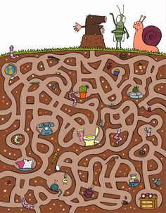 The shortsighted mole Senses Preschool, Preschool Worksheets, Preschool Activities, Mazes For Kids, Maze Puzzles, Maze Game, Board Game Design, Happy Colors, Drawing For Kids
