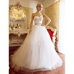 A-line Ball Gown Sweetheart Sweep/Brush Train Tulle And Satin Wedding Dress (604633) – USD $ 299.99