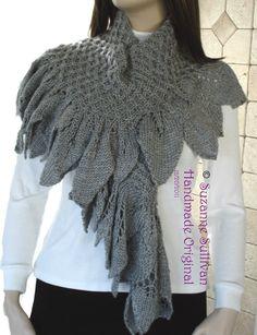 Luxury Shawl Knitted Wrap Stole  Leaf Edge by SuzanneSullivan, $120.00