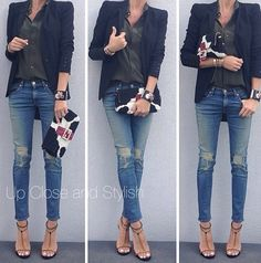 Distressed jeans ( wrong shape for hourglass) with blazer and shirt alles für Ihren Stil - www.thegentlemanclub.de