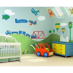 My Wonderful Walls Trains, Airplanes, Cars Room - Wall Stencils for Painting a Boys Room Transportation Theme Wall Mural Boy Toddler Bedroom, Baby Boy Rooms, Baby Boy Nurseries, Boys Bedroom Cars, Car Bedroom Ideas For Boys, Toddler Boys, Room Baby, Child Room, Transportation For Kids