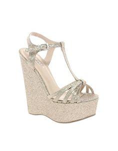 Carvela Gloworm Sparkle Wedges - silver for bridesmaid shoes