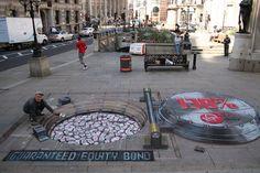 Underground Bank at Bank Underground, London. - Julian Beever