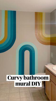 Bathroom Mural, Bedroom Murals, Mural Wall Art, Painted Wall Murals, Diy Wall Painting, Wall Paintings, Aesthetic Room Decor, Painted Doors, Room Paint
