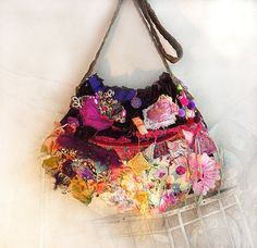 Beautiful Unique Bag Hand Embroidered Boho Tribal by Paulina722, $178.00