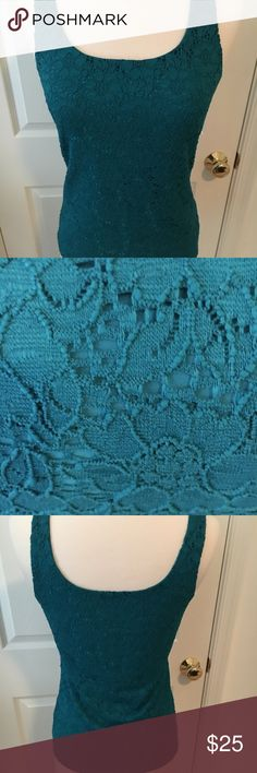 WHBM Lace Tank Top Emerald Green. Like new condition tank.  Fully lined. Wear under a sweater or jacket for a pop of color and texture. Pet free, smoke free home. White House Black Market Tops Tank Tops