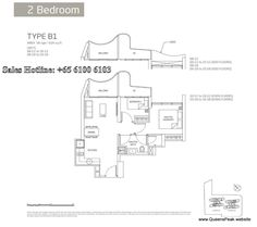 queens peak floor plan 2 bedroom-b1