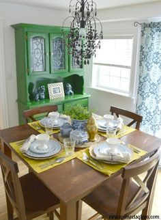 Eclectic Dining Room Fascinating Eclectic Dining Room Table Setting Emerald Green Hutch Blue White Design Ideas