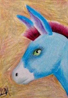 "Aceo Original  ""DONKEY""  pencil/ink"