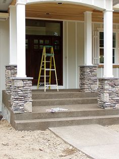 Love that stone exterior facade or comfortable fire place that you see? Unless you stay in a typical location with very old buildings, and also where real stone is the norm, it's most . Read Best Stone Veneer Ideas for Your Dream House House With Porch, House Front, Front Porch Pillars, Porch With Columns, House Pillars, Front Entry, Porch Posts, Deck Posts, Stone Columns