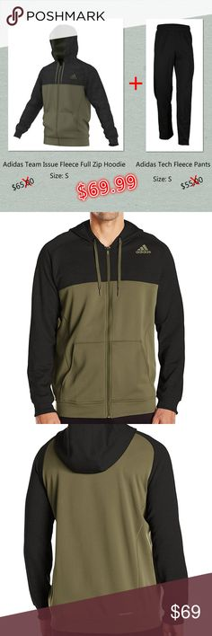 Adidas Men's Size M Hoodie & Pants Brand New, With Tags, 100% Authentic  Adidas Team Issue Fleece Full Zip Hoodie AY7470  + Adidas Performance Tech Fleece Pants M64715   Mens Size: S Original price:$65+$55= $120.00  Color: Black/Olive Cargo  More style and size on: 1) K&F Facebook page : https://www.facebook.com/stkandf/shop 2) ebay shop: http://stores.ebay.com/kf 3) https://www.bonanza.com/booths/henrylhg 4) http://www.buyalot.net  Thank you for looking at my item adidas Jackets & Coats…