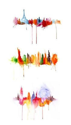 Watercolor Cityscapes by Elena Romanova: Paris, New York and London #FredericClad
