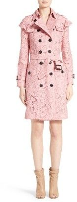 Shop Now - >  https://api.shopstyle.com/action/apiVisitRetailer?id=620124038&pid=uid6996-25233114-59 Women's Burberry Stanhill Ruffle Lace Trench Coat  ...