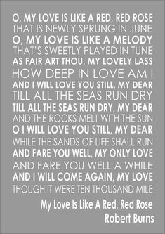 MY LOVE IS LIKE A RED, RED ROSE - ROBERT BURNS Poem Poetry Quote Wall Word Art